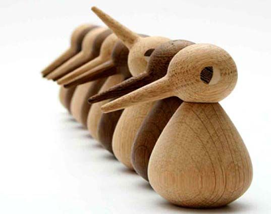 Still made today in Denmark, the birds' heads can be turned and their bodies inverted.