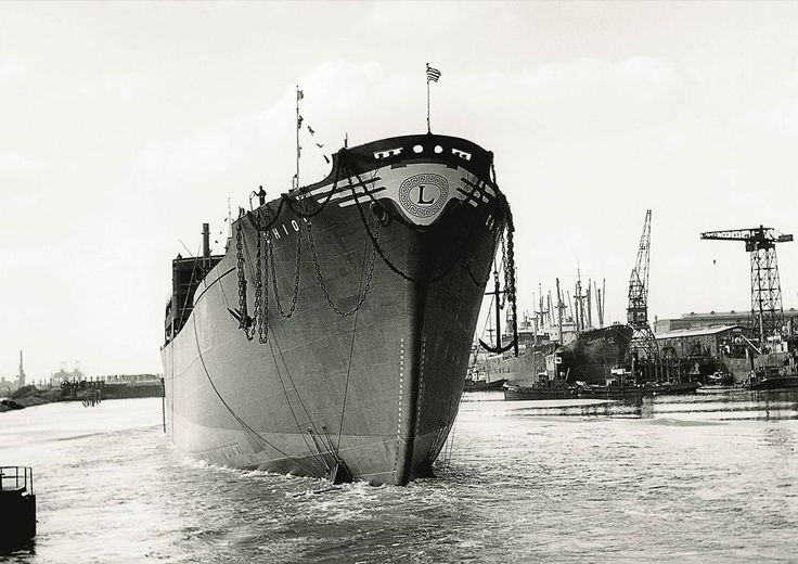 "The launching of the cargo ship CHIOS on 12 April 1956, built by A.G. ""Weser"", Bremen for a company under Stavros Livanos Group./  H καθέλκυση του φορτηγού CHIOS του Σταύρου Λιβανού στις 12 Απριλίου 1956 στα ναυπηγεία A.G. ""Weser"" της Βρέμης."