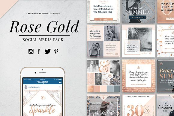 ROSE GOLD Theme | Social Media Pack by Marigold Studios on @creativemarket