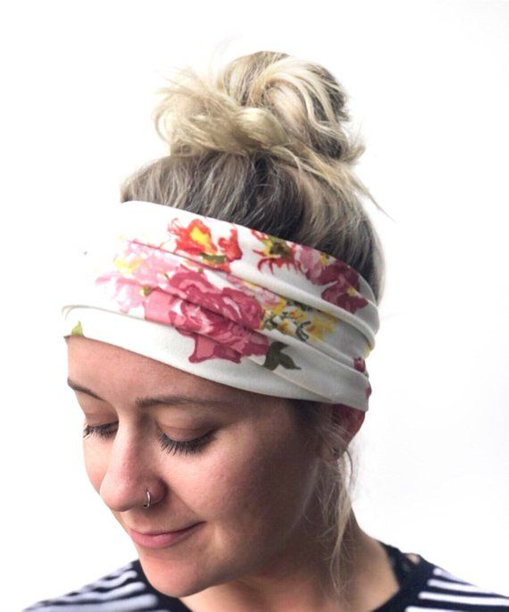 The WIDEBAND - Women s Wide Headband Boho Headwrap White Floral Rose Flower  Spring Summer 26159a76034