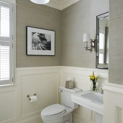 Powder Room I Like The Wainscoting And Grey Paper This