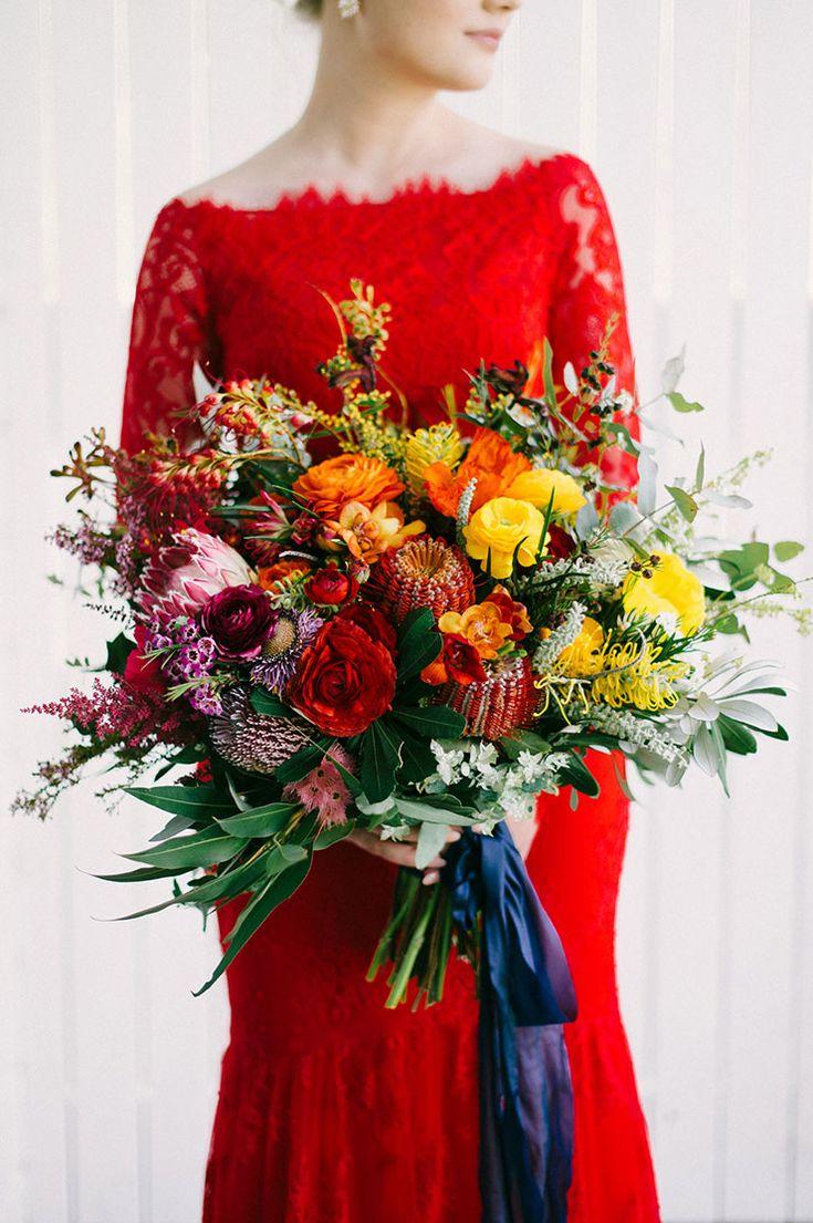 Bright rainbow wedding bouquet | Sophie Baker Photography