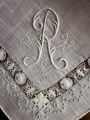 Vintage Ladies Hankie Monogram R Exquisite Drawn Threads Lace Work Linen | eBay