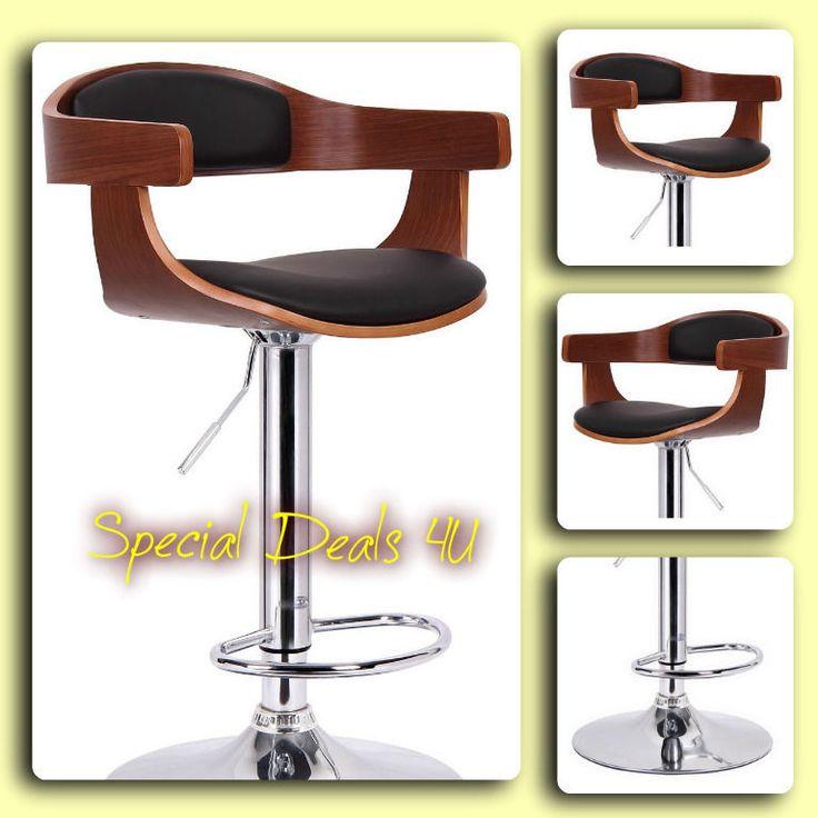 Swivel Bar Stool Wood Metal Modern Chair adjustable Set Chrome Leather Bar Pub