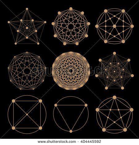 Set of geometric tattoo icons. Set of nine symbols of sacred geometry. Linear character illustration for tattoo black background