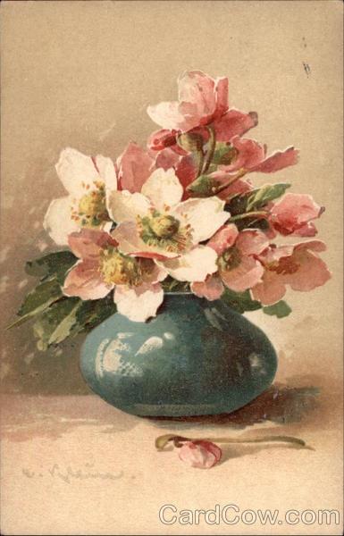 Blue Vase with Pink Flowers C. Klein. Vintage postcard.