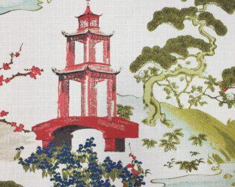 Pagoda Fabric - Zen - Asian Upholstery Fabric - Modern Asian Fabric - Pillow Cover