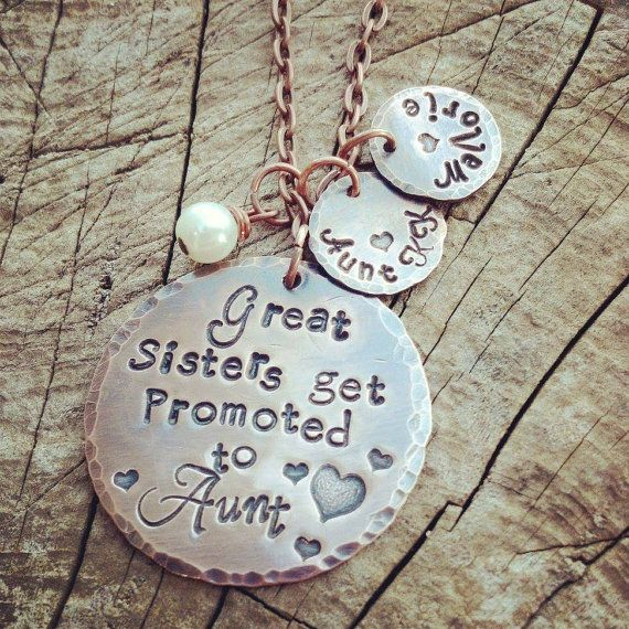 Great sisters get promoted to aunt. Personalized hand stamped charm necklace. Distressed copper.