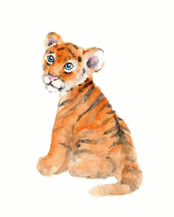 Tiger Cub print 8 x 10 inch from Original Watercolor Painting