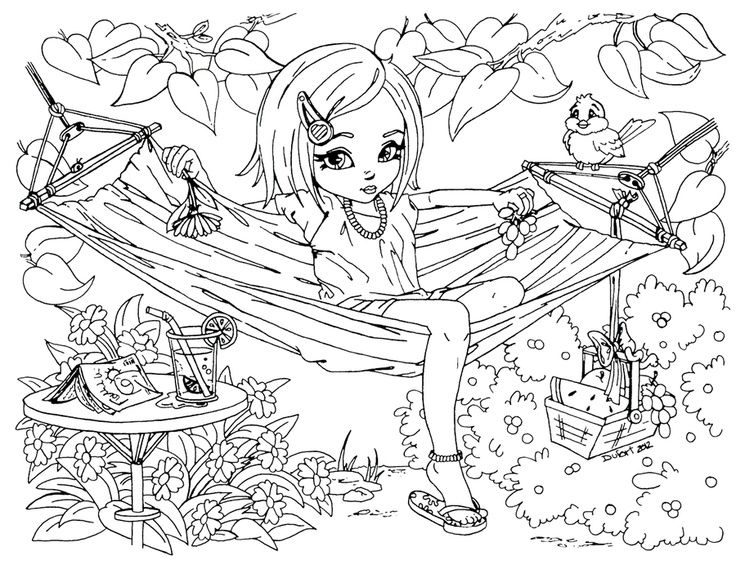 printable summer time girl enjoy on hammock coloring pages printable coloring pages for kids - Coloring Pages Printable Girls