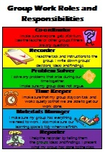 Co-operative Groups Role Cards - Teachers will love these printable cards to manage their group work!  To ensure each child works co-operatively children are assigned roles.  Roles include;  Co-ordinator Recorder Problem solver Time keeper Materials manager Reporter This pack includes;  A poster with definitions of each of the roles. Role cards which could be turned into badges. Role cards with definition of each role.
