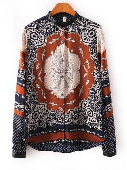 Shopping for women retro PU stitching totem pattern printed shirts CY-B1102L7