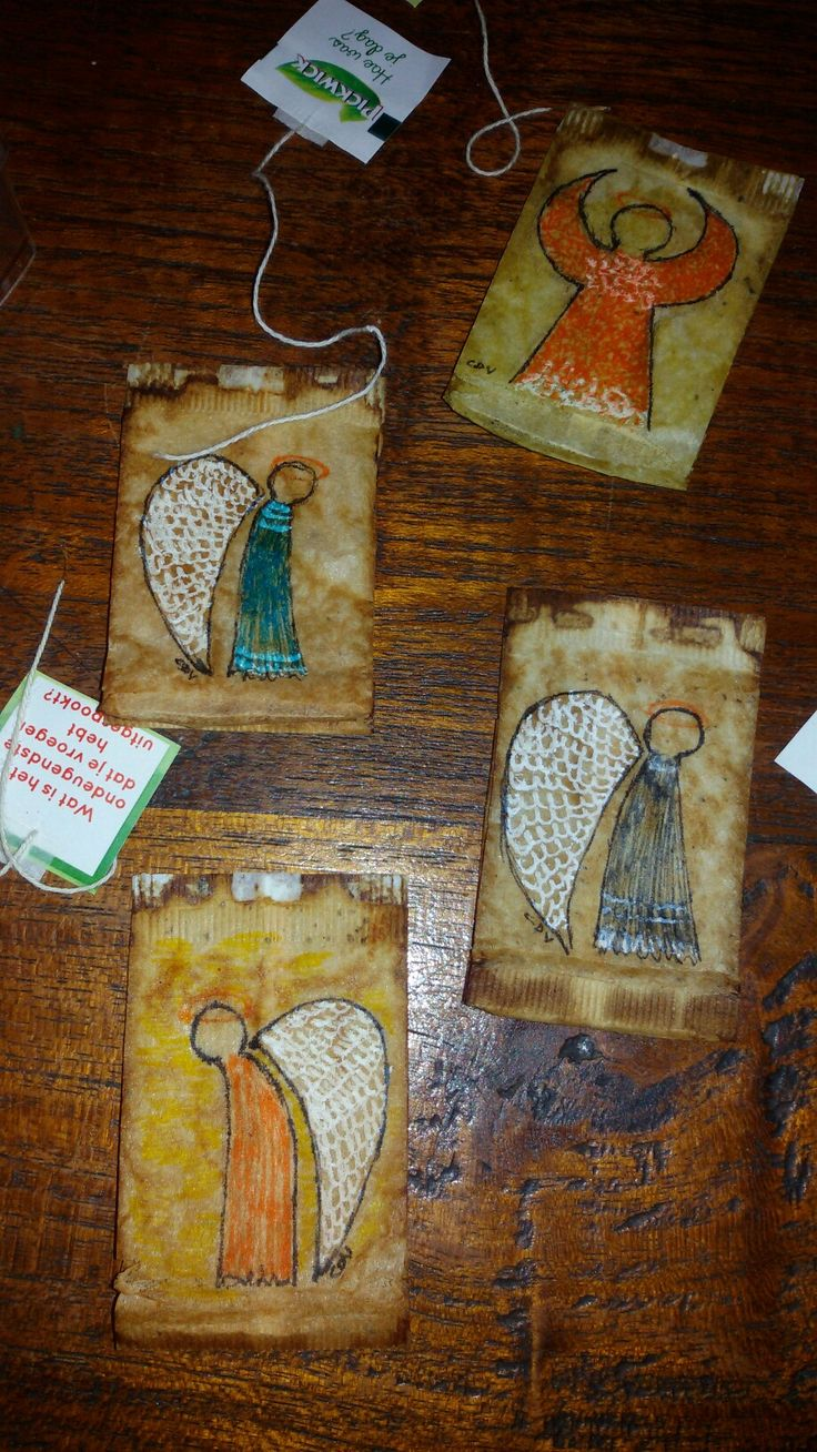 tea bags; stabilo; angels. Made cards with these.