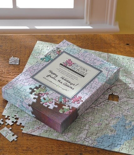 Send an address and they'll create a jigsaw puzzle from a USGS map of the town. Cool gift idea for someone who likes puzzles!