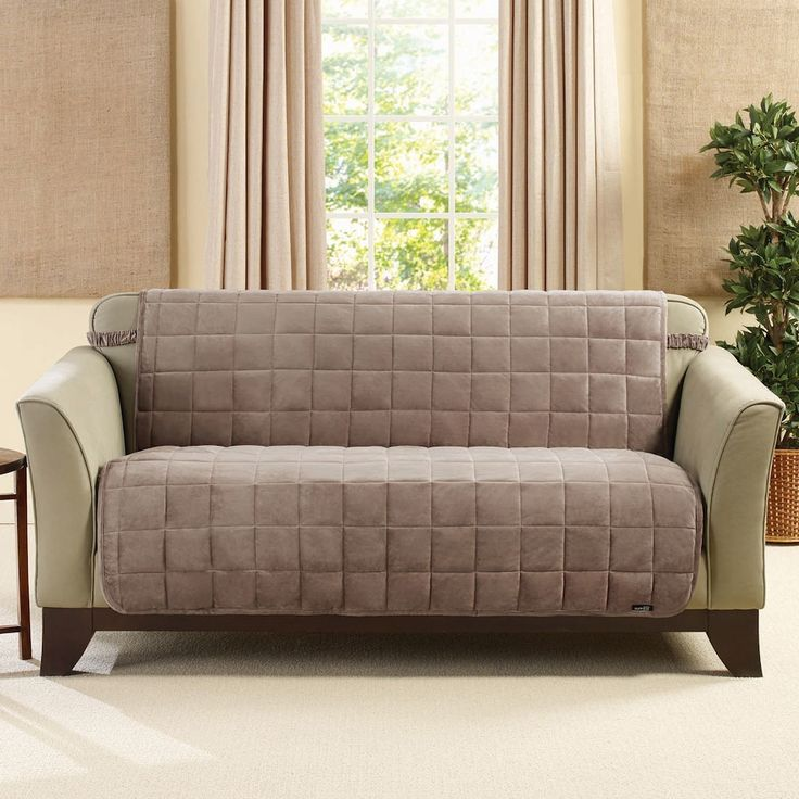 Sure Fit Deluxe Comfort Armless Loveseat Slipcover, Brown