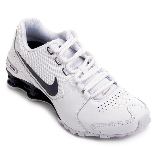 27cebeb2143 Tênis Couro Nike Shox Avenue LTR Masculino - Branco e Azul ...