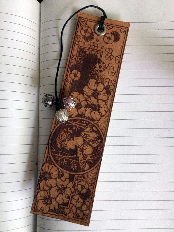 Engraved Vintage Illustration of Woman with Blossoms Bookmark & Beaded Tail