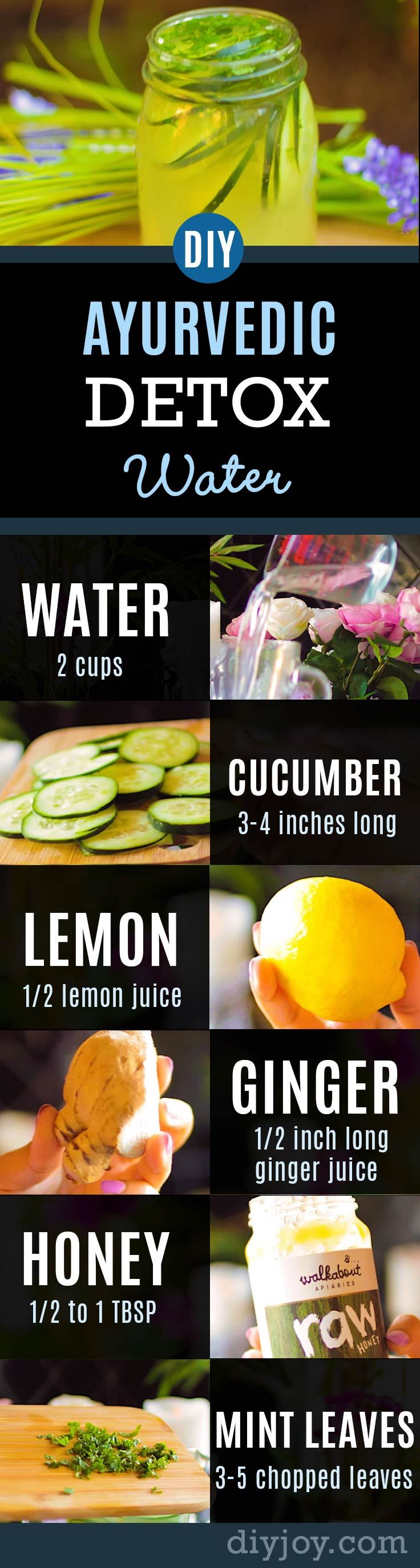 Ayurvedic Detox Water Recipe Promotes Healthy Body, Clear Skin, Weight Loss and Flat Belly, Anti-Aging | Healthy Recipes by DIY Joy Crafts diyjoy.com/...