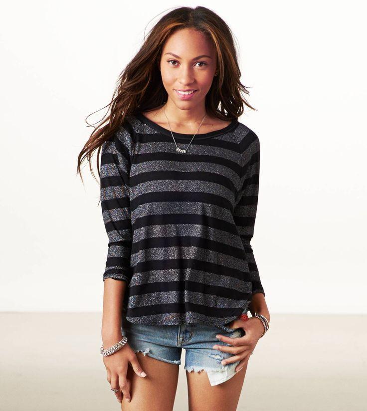 AE Shine Striped Dolman T-Shirt #AmericanEagle