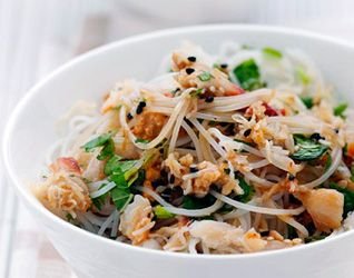 Crab and Noodle Salad with Black Sesame Seed Dressing recipe