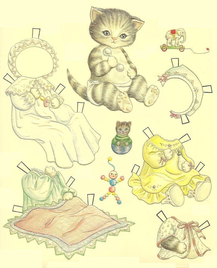 1985.  BABY KITTY CUCUMBER Cucumber Paper Doll.  Original costumes by Judy M. Johnson.  Merrimack Publ. Corp. Signed by Judy M. Johnson.