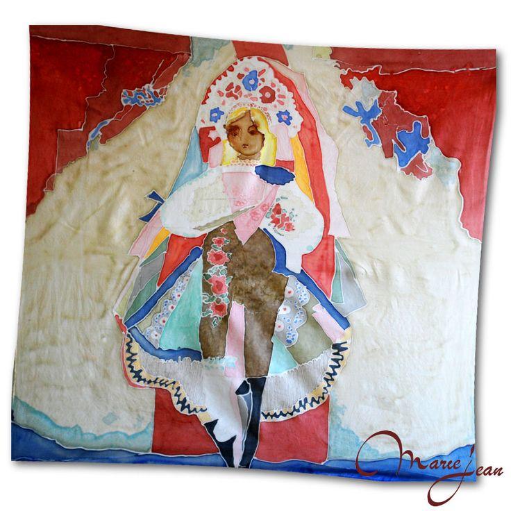 """Umelecká hodvábna šatka """"Nevesta"""" s motívom od Ľudovíta Fullu, ktorý je považovaný za jedného zo zakladateľov moderného maliarstva a grafiky na Slovensku. Jedno z jeho najvýznajmenších diel - Slovenská Nevesta, ktorú namaľoval v roku 1949, nájdete ako motív na tejto krásnej hodvábne šatke. http://bit.ly/1iorLch"""
