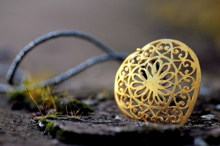 https://flic.kr/p/Dyw3E3 | Sculptural Creative Pendant - Lace work jewelry- | Sparkling Heart - gold plated sterling silver, pyrite beads  pyrite beads length: 80cm approx