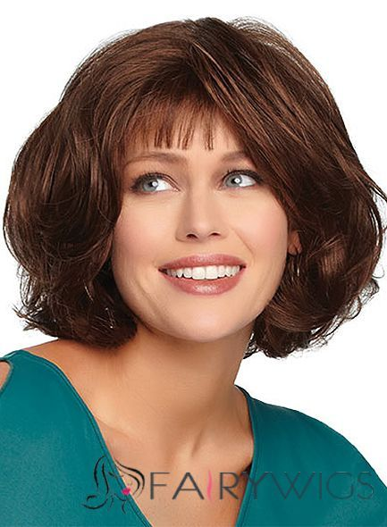Quality Wigs Short Wavy Brown 12 Inch Indian Remy Hair Wigs