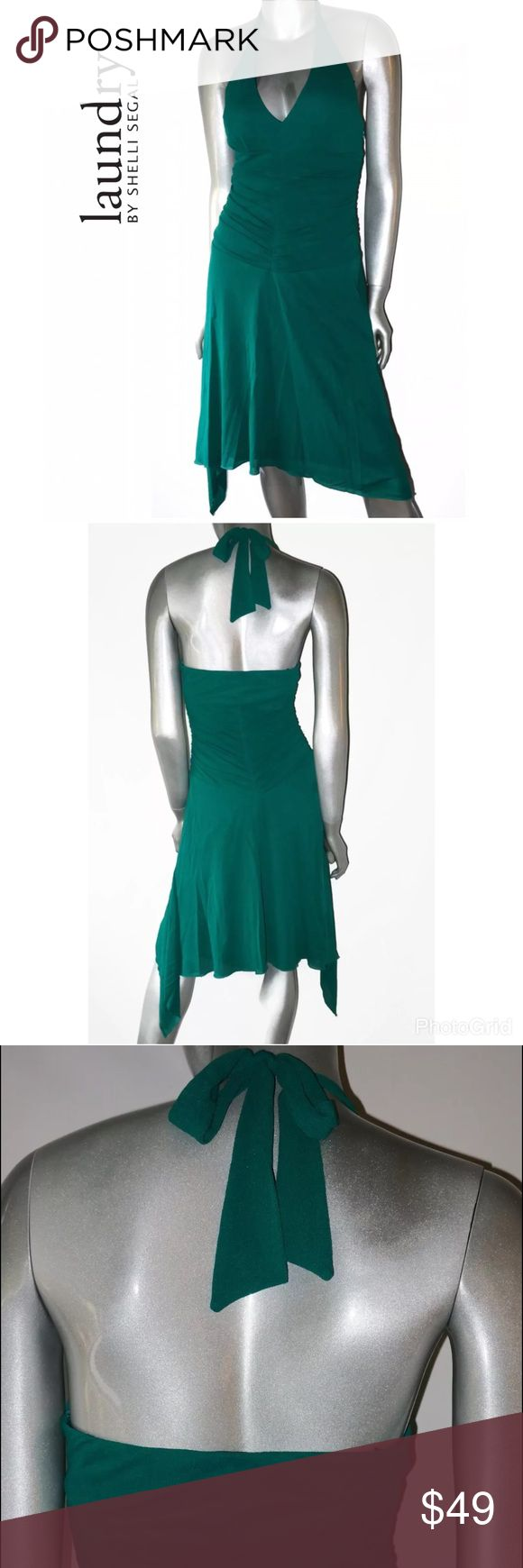 "Laundry Shelli Segal Green Halter Cocktail Dress Laundry By Shelli Segal Green Halter Cocktail Dress. Womens Sz: 4  Measurements Lying Flat: Armpit to armpit- 16"" Length- 30""  Condition: Nice shape, super sexy. Pre-owned.  ALL ITEMS COME FROM A SMOKE-FREE HOME Laundry by Shelli Segal Dresses Asymmetrical"