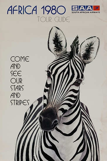 South African Airways Original Travel Poster Zebra Come and See Our Stars and Stripes, 19890. {DP Vintage Posters}