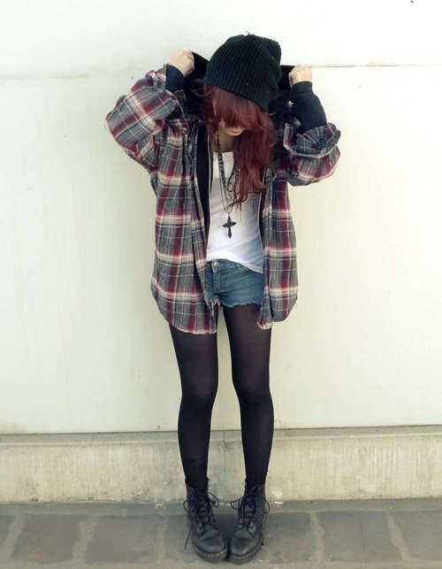 Soft grunge plaid flannel long sleeve button down ...