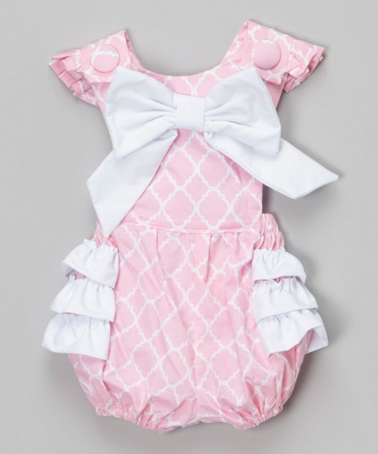 Take a look at this Pink Quatrefoil Ruffle Bubble Romper - Infant today!