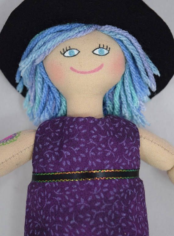 Hipster Girl Doll With Tattoos Blue & Purple Hair  Art Doll