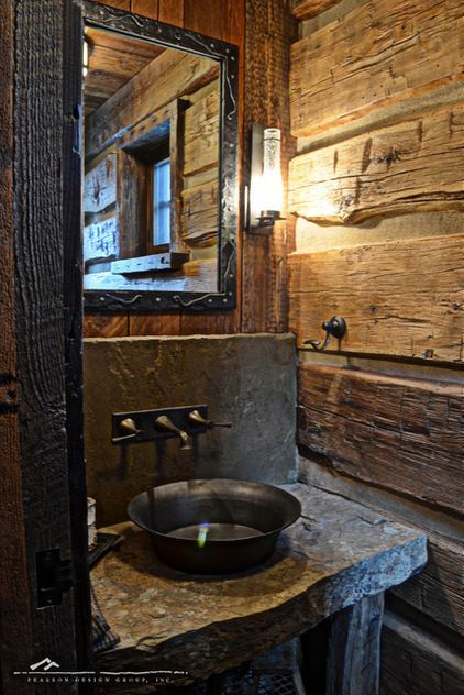 Masculine and rustic Interiors design bathroom by Highline Partners, Ltd--this would be great for cabin in the woods, by the mountains, AND some water!!