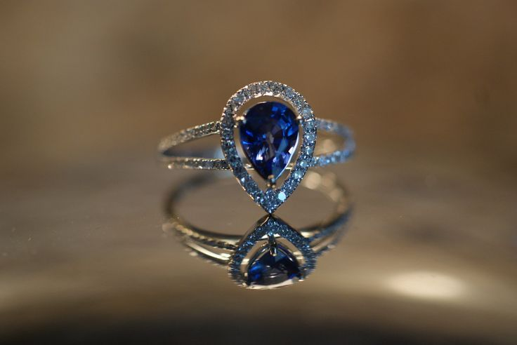 Royal blue pear sapphire diamond ring 14k white by . Gorgeous!