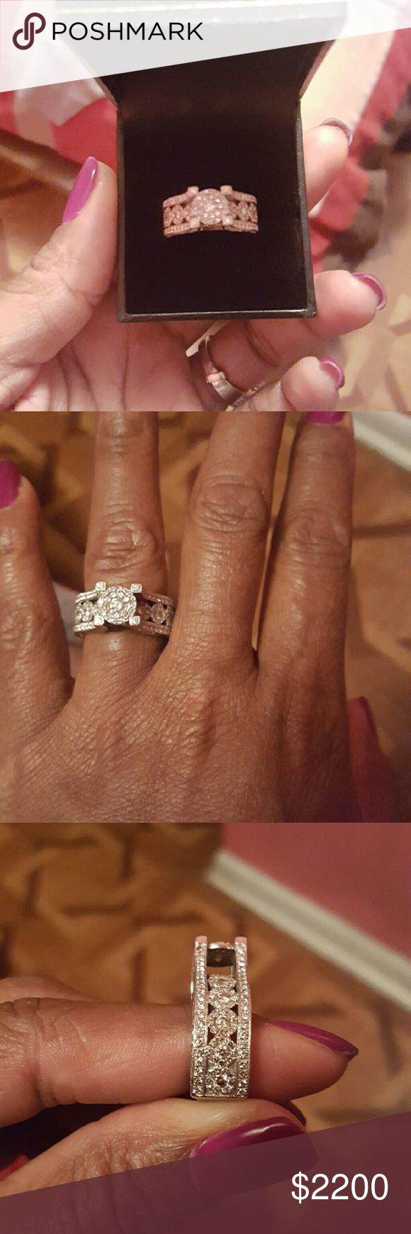 Engagement Ring 14k white gold 3 karat beautiful engagement ring for your fianc?. It's a thick band size 6 but had to get a ring guard in it to fit my finger.. I do have the appraisal paperwork that came with it.. Jewelry Rings