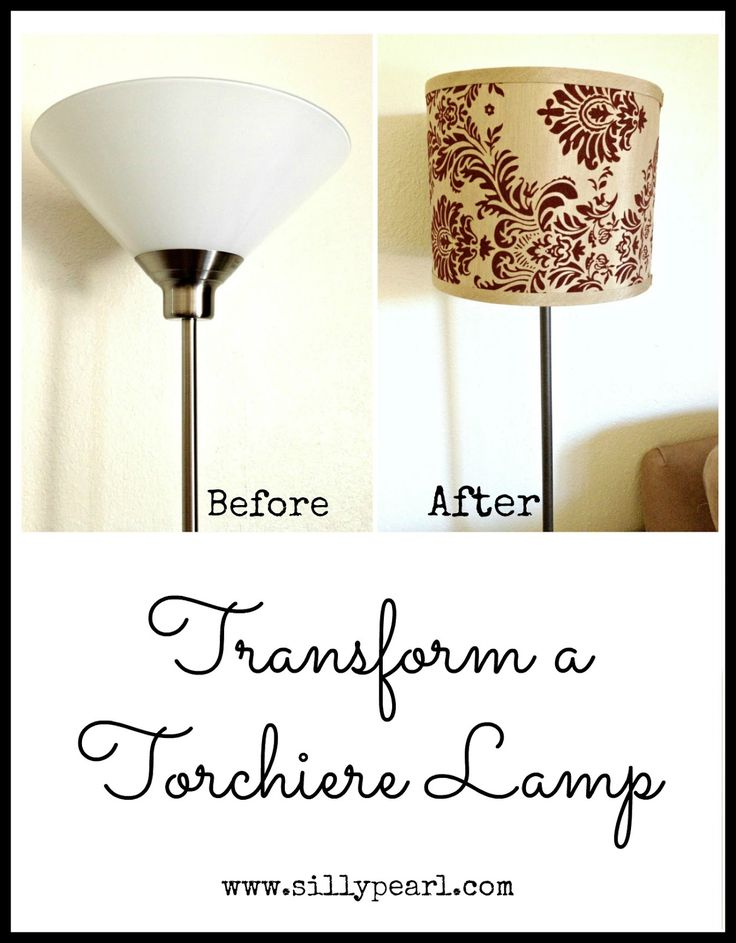 Transform a torchiere floor lamp to a drum shade floor lamp in just a few steps.
