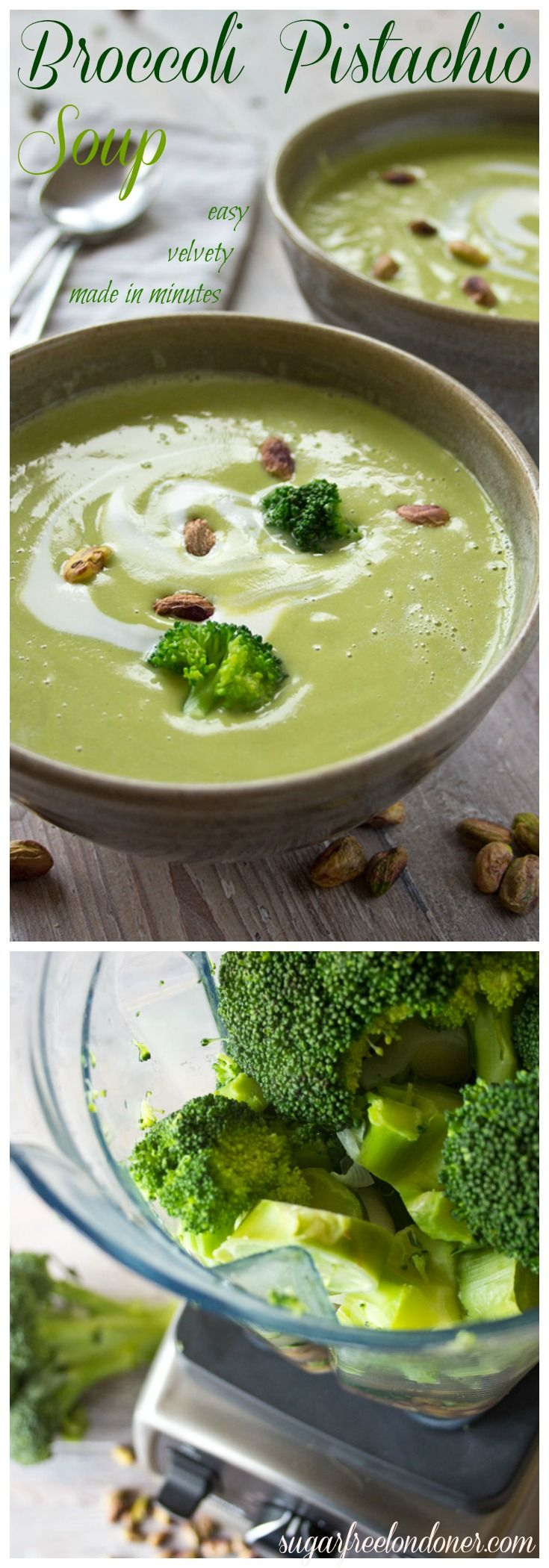 This smooth and creamy broccoli pistachio soup is an easy and delicious way to load up on antioxidants and vitamin C. Great as a quick, warming lunch or as a light starter course.