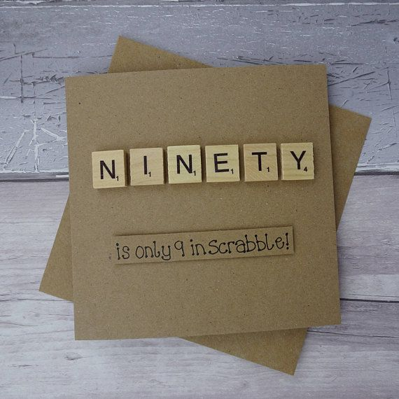 90th birthday card Ninetieth Scrabble card Funny birthday