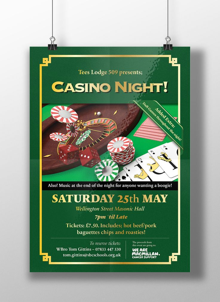 Casino charity night poster