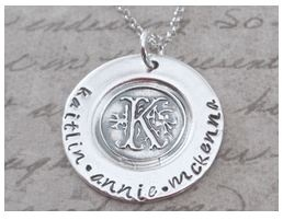 Wax seal monogram necklace with children's names from our new hand stamped jewelry designer.  I am asking Wayne to give me this for Mothers Day, I usually prefer surprises but I really want this