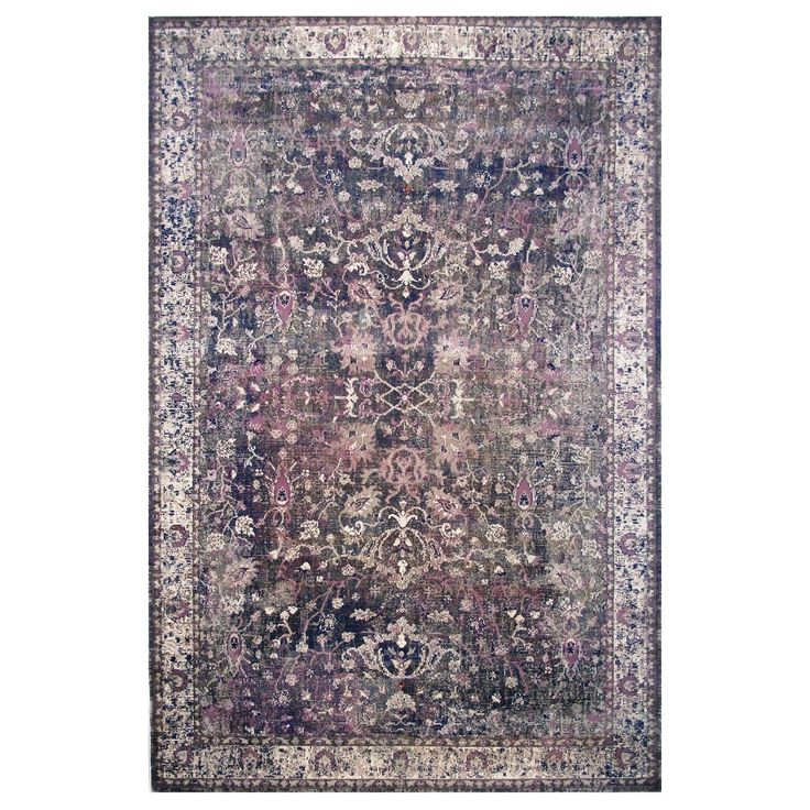 Hermes Collection Purple Oriental Rug (5'3 x 7'6) (5'x8'), Blue, Size 5' x 8'