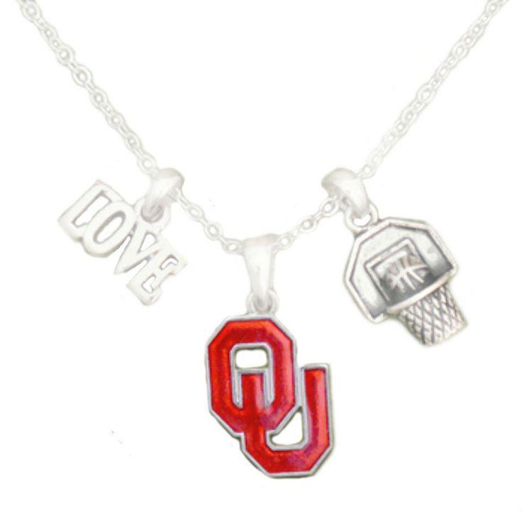 University Of Oklahoma Sooners Basketball Trio Pendant Necklace NCAA OU