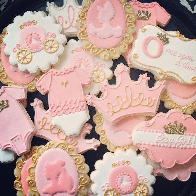 Pink & Gold Baby Cinderella Cookies