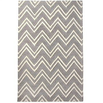 Chevron 100% Wool Rug in Grey - 190cmx280cm