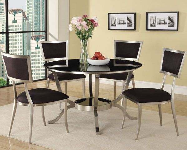 Amora Chrome Round Black Glass Dining Table Set #moderndiningtable