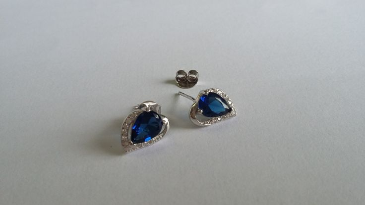 925 Sterling Silver studs with sapphire CZ Available at www.johamich.com