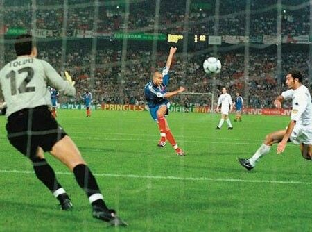 France 2 Italy 1 in 2000 in Rotterdam. A great strike by David Trezeguet wins the Final of Euro 2000 on the Golden Goal rule. 2-1. France are Champions.