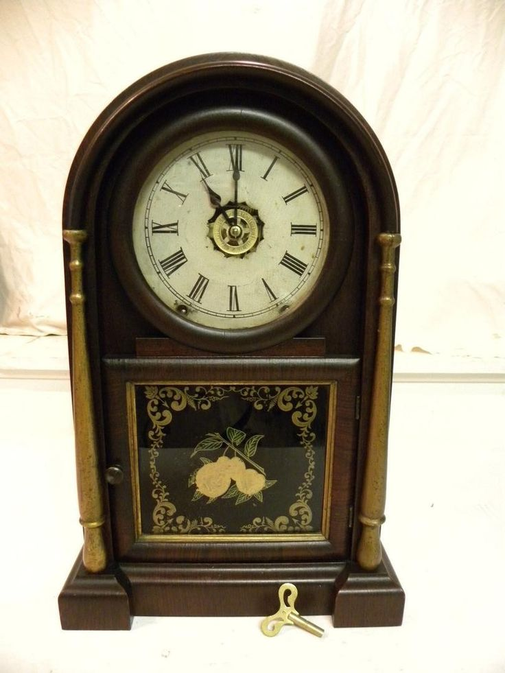 ANTIQUE AMERICAN ANSONIA BRASS & COPPER CO. PARLOR CLOCK WITH FULL ALARM. CIRCA 1869. 8 DAY TIME AND STRIKE SIGNED ANSONIA MOVEMENT. PROFESSIONALLY CLEANED, OILED AND SET IN BEAT. THIS SERVICE ALONE W