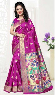 Deep Pink Color Art Silk Pooja and Traditional Wear Saree | FH579186175